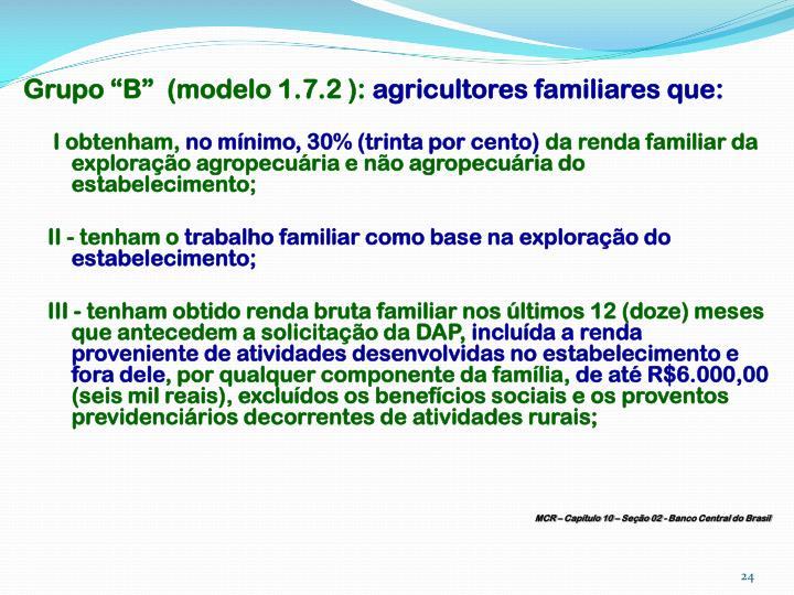 "Grupo ""B""  (modelo 1.7.2 ):"