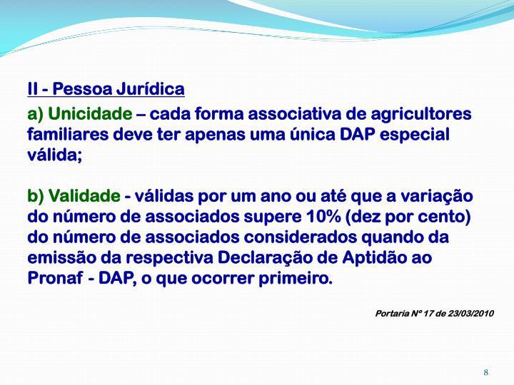 II - Pessoa Jurídica