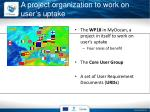 a project organization to work on user s uptake