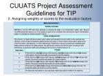 cuuats project assessment guidelines for tip