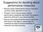 suggestions for deciding about performance measures