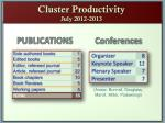 cluster productivity july 2012 2013
