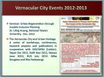 vernacular city events 2012 2013