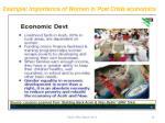 example importance of women in post crisis economics