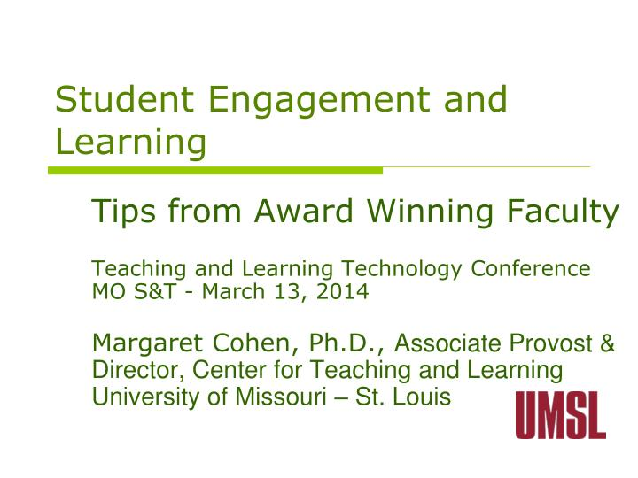 student engagement and learning n.