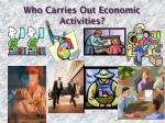 who carries out economic activities