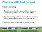 planning urd oost droog