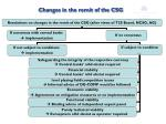 changes in the remit of the csg