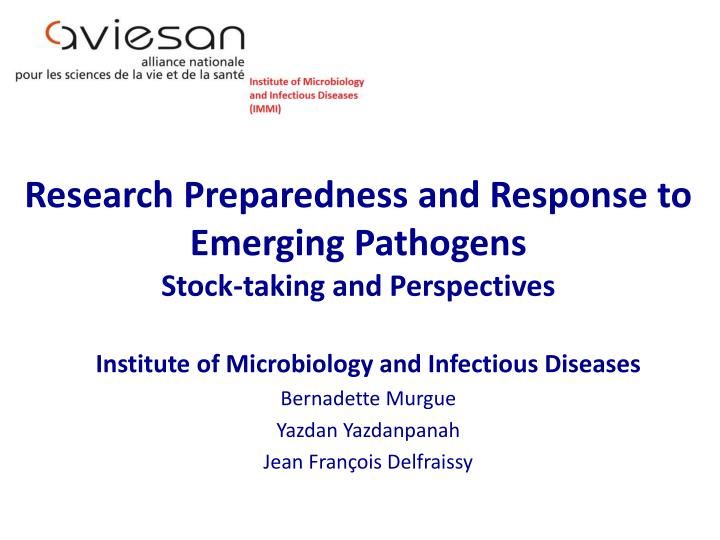 research preparedness and response to emerging pathogens stock taking and perspectives n.