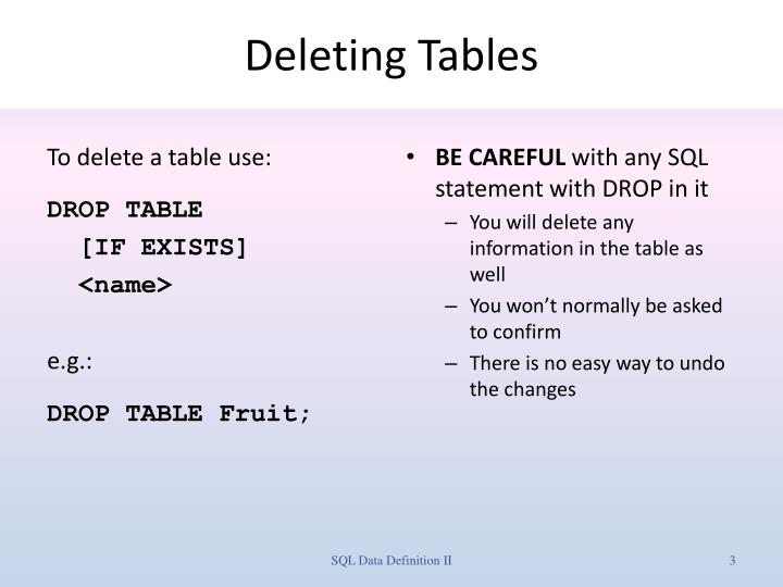 Deleting tables