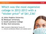 which was the most expensive college in 2012 2013 with a sticker price of 61 236