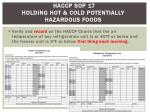 haccp sop 17 holding hot cold potentially hazardous foods