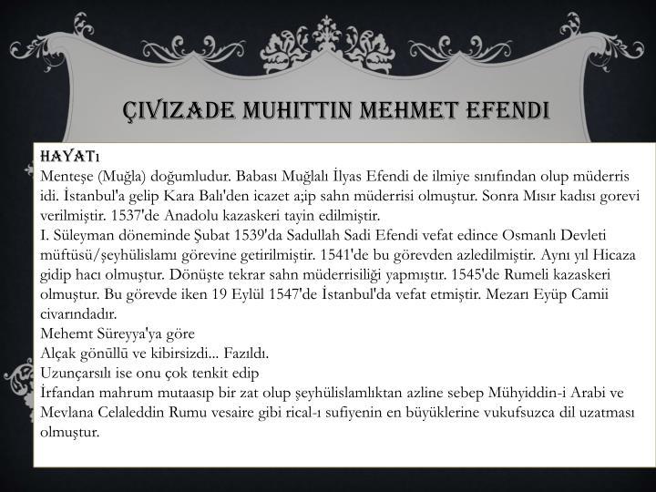 Çivizade Muhittin Mehmet Efendi