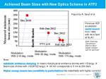 achieved beam sizes with new optics scheme in atf2