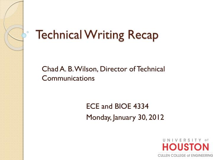 technical writing recap n.