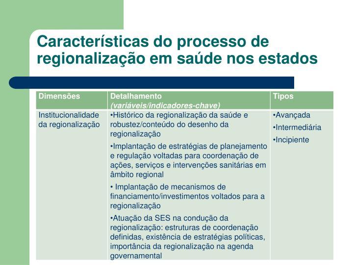 Características do processo de regionalização em saúde nos estados