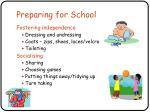 preparing for school