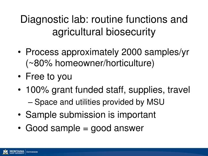 Diagnostic lab: routine functions and agricultural