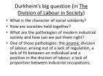 durkheim s big question in the division of labour in society