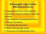 inappropriate behaviors
