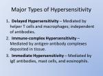 major types of hypersensitivity