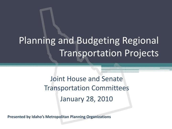 planning and budgeting regional transportation projects n.
