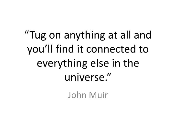 tug on anything at all and you ll find it connected to everything else in the universe n.