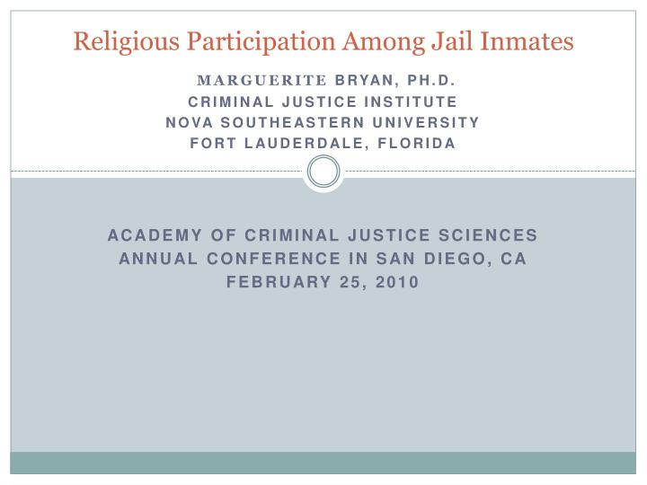 religious participation among jail inmates n.