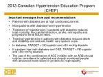 2013 canadian hypertension education program chep