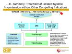 iii summary treatment of isolated systolic hypertension without other compelling indications