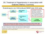 xii treatment of hypertension in association with diabetes mellitus summary