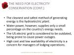 the need for electricity conservation cont