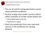 the need for electricity conservation