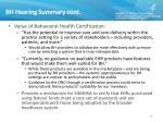 bh hearing summary cont1