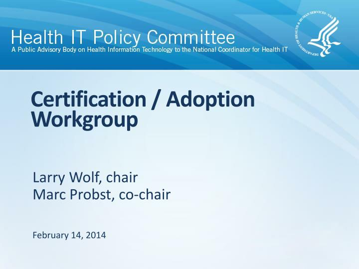 certification adoption workgroup n.
