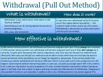 withdrawal pull out method