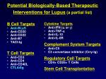 potential biologically based therapeutic interventions for lupus a partial list