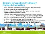 diversity in transition preliminary findings implications