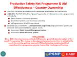 productive safety net programme aid effectiveness country ownership