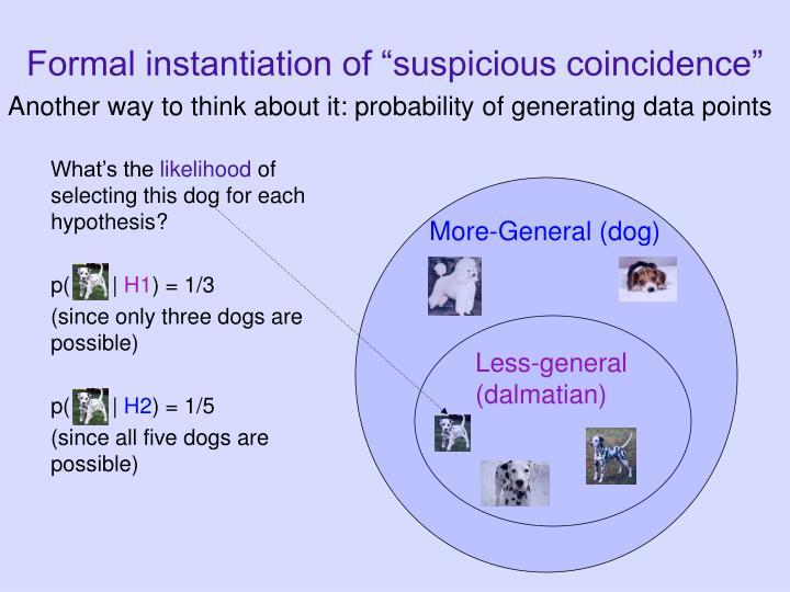 "Formal instantiation of ""suspicious coincidence"""