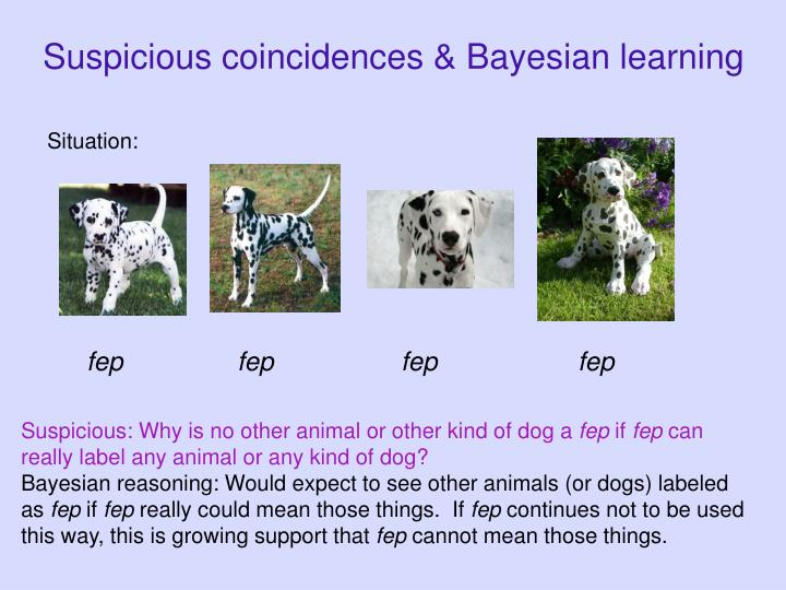 Suspicious coincidences & Bayesian learning