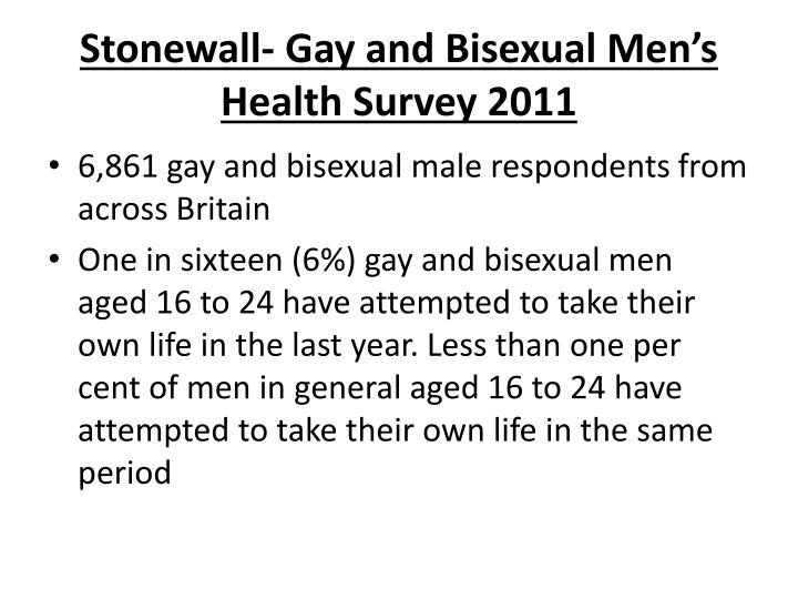 Stonewall gay and bisexual men s health survey 2011