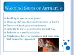 warning signs of arthritis