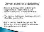 correct nutritional deficiency