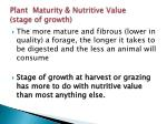 plant maturity nutritive value stage of growth