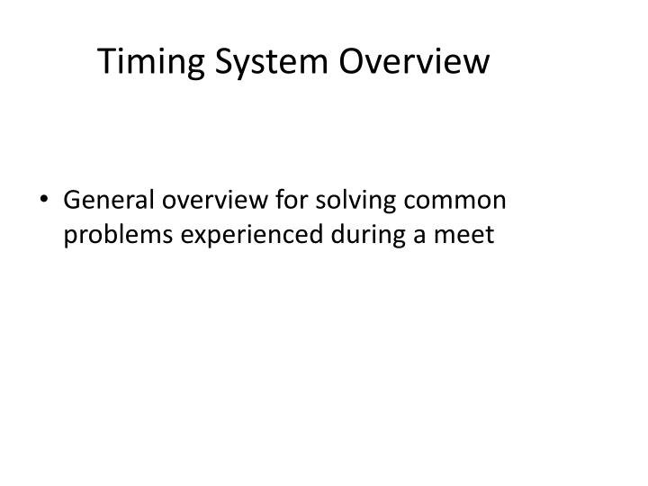timing system overview n.