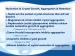 nucleation crystal growth aggregation retention