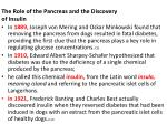 the role of the pancreas and the discovery of insulin