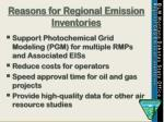 reasons for regional emission inventories