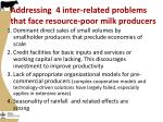 addressing 4 inter related problems that face resource poor milk producers